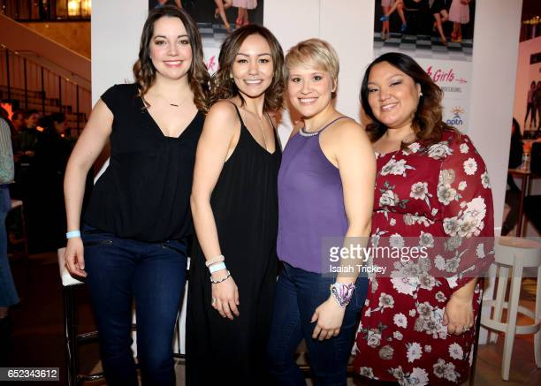 Actors Jennifer Pudavick Maika Harper Brittany LeBorgne and Heather White of the television series 'Mohawk Girls' attend the Academy of Canadian...