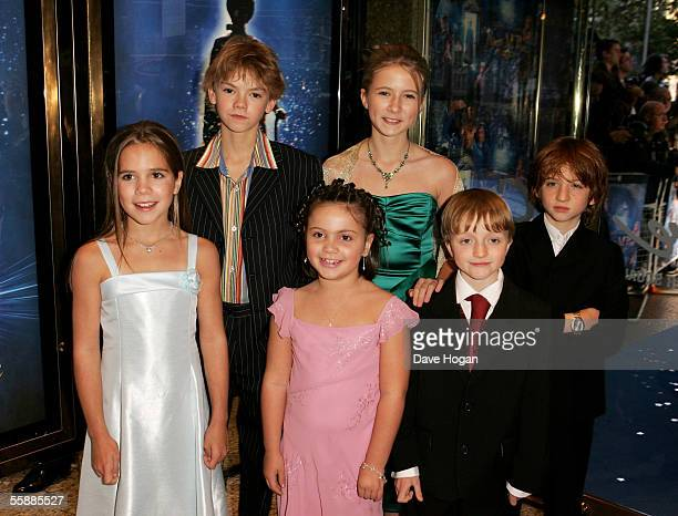 Actors Jennifer Rae Daykin Thomas Sangster Holly Gibbs Eliza Bennett Sam Honywood and Raphael Coleman arrive at the The World Charity Premiere of...