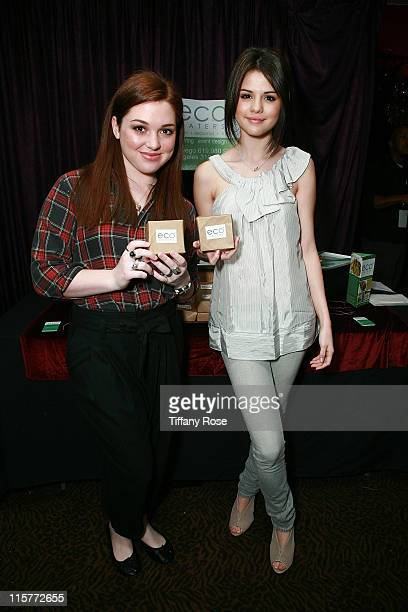 Actors Jennifer Stone and Selena Gomez pose at the GBK Productions Golden Globes Gifting Suite on January 10 2009 in Beverly Hills California