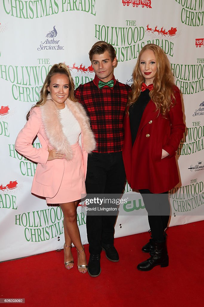 Actors Jennifer Veal, Garrett Clayton and Elizabeth Stanton arrives at the 85th Annual Hollywood Christmas Parade on November 27, 2016 in Hollywood, California.