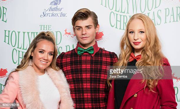 Actors Jennifer Veal Garrett Clayton and Elizabeth Stanton arrives at the 85th Annual Hollywood Christmas Parade on November 27 2016 in Hollywood...