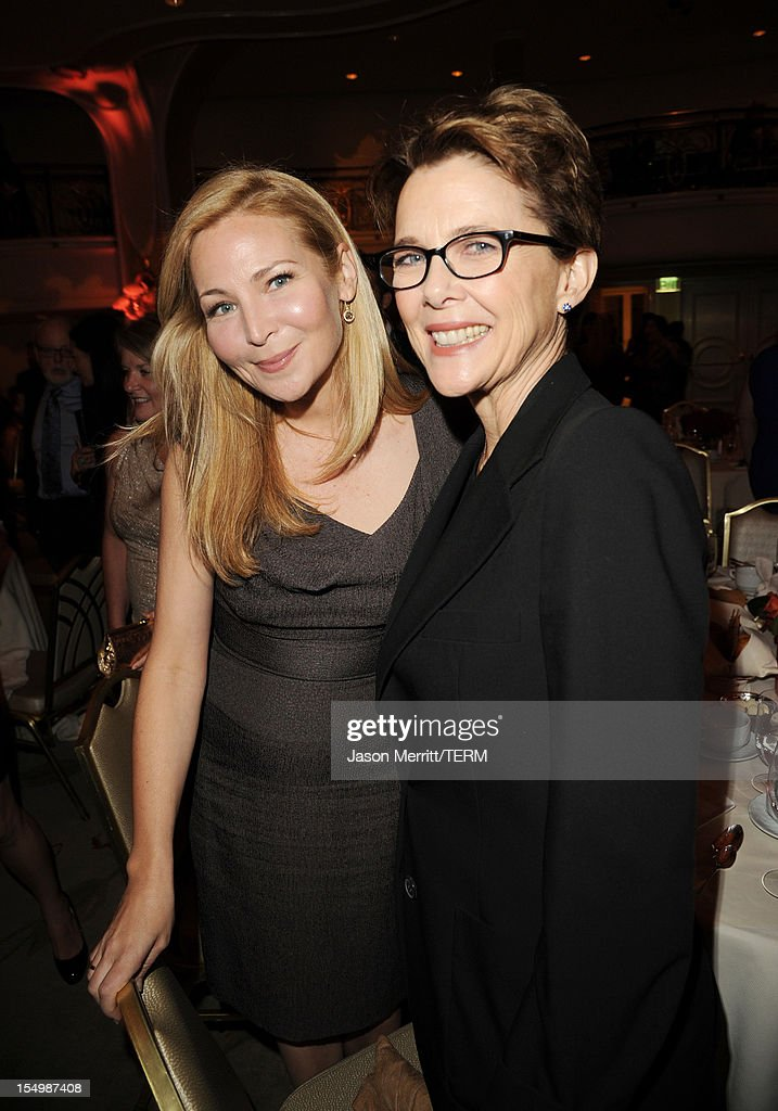 Actors Jennifer Westfeldt and Annette Bening attend the 2012 Courage in Journalism Awards hosted by the International Women's Media Foundation held at the Beverly Hills Hotel on October 29, 2012 in Beverly Hills, California.