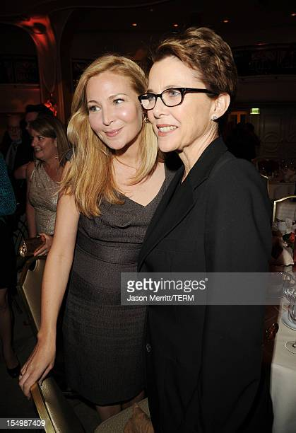 Actors Jennifer Westfeldt and Annette Bening attend the 2012 Courage in Journalism Awards hosted by the International Women's Media Foundation held...
