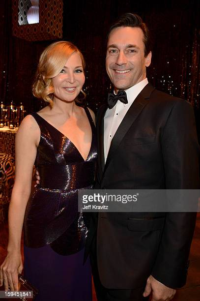 Actors Jennifer Westfeldt and Jon Hamm attend HBO's Official Golden Globe Awards After Party held at Circa 55 Restaurant at The Beverly Hilton Hotel...