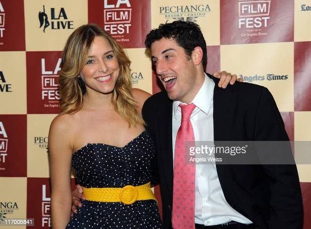 Actors Jenny Mollen and Jason Biggs arrive at the 'Lfe Happens' World Premiere during the 2011 Los Angeles Film Festival held at the Regal Cinemas LA...