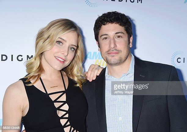 Actors Jenny Mollen and Jason Biggs attend the premiere of Cinedigm's 'Amateur Night' at ArcLight Cinemas on July 25 2016 in Hollywood California
