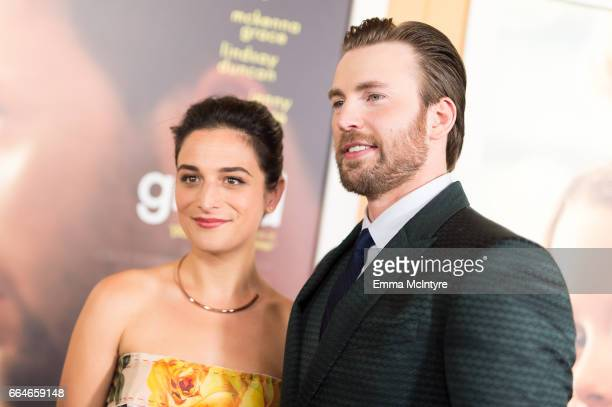 Actors Jenny Slate and Chris Evans arrive at the premiere of Fox Searchlight Pictures' 'Gifted' at Pacific Theaters at the Grove on April 4, 2017 in...