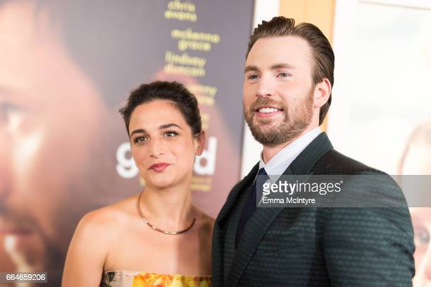 Actors Jenny Slate and Chris Evans arrive at the premiere of Fox Searchlight Pictures' 'Gifted' at Pacific Theaters at the Grove on April 4 2017 in...