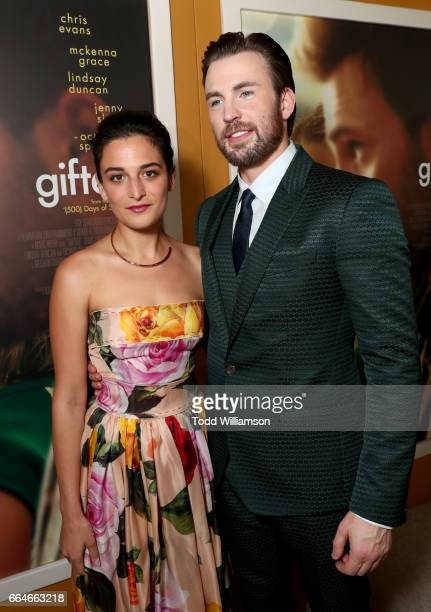 Actors Jenny Slate and Chris Evans attend the Los Angeles Premiere of GIFTED at Pacific Theatres at The Grove on April 4 2017 in Los Angeles...