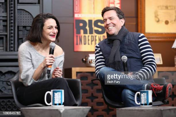 Actors Jenny Slate and Ed Helms speak onstage during the Cinema Cafe 4 during the 2019 Sundance Film Festival at Filmmaker Lodge on January 28 2019...