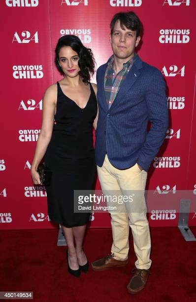 """Actors Jenny Slate and Jake Lacy attend a screening of A24's """"Obvious Child"""" at ArcLight Hollywood on June 5, 2014 in Hollywood, California."""