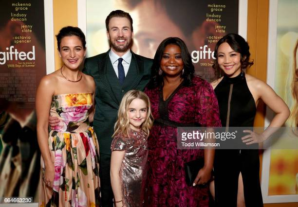 Actors Jenny Slate Chris Evans Mckenna Grace Octavia Spencer and Jona Xiao attend the Los Angeles Premiere of 'GIFTED' at Pacific Theatres at The...