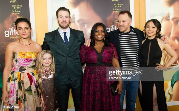 Actors Jenny Slate Chris Evans Mckenna Grace Octavia Spencer director Marc Webb and Jona Xiao arrive at the premiere of Fox Searchlight Pictures'...