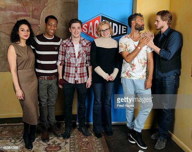 Actors Jenny Slate Tyler James Williams Kyle Gallner Alison Pill Taika Waititi and Boyd Holbrook attend the Actors SAG Indie Brunch at Cafe Terigo on...