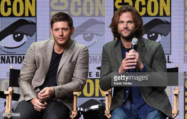 Actors Jensen Ackles and Jared Padalecki at the 'Supernatural' panel during ComicCon International 2017 at San Diego Convention Center on July 23...