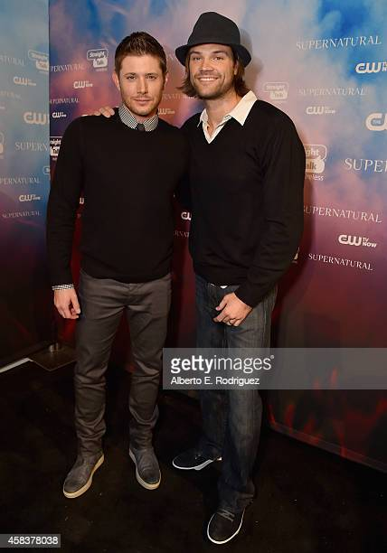 Actors Jensen Ackles and Jared Padalecki attend the CW's Fan Party to Celebrate the 200th episode of Supernatural on November 3 2014 in Los Angeles...