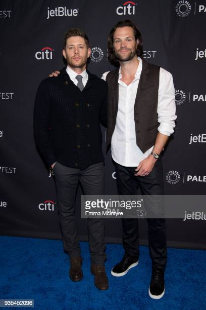 Actors Jensen Ackles and Jared Padalecki attend the Paley Center for Media's 35th Annual PaleyFest Los Angeles 'Supernatural' at Dolby Theatre on...