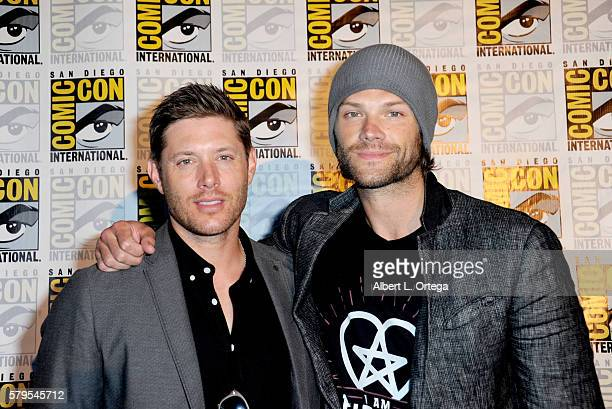 Actors Jensen Ackles and Jared Padalecki attend the 'Supernatural' Special Video Presentation And QA during ComicCon International 2016 at San Diego...