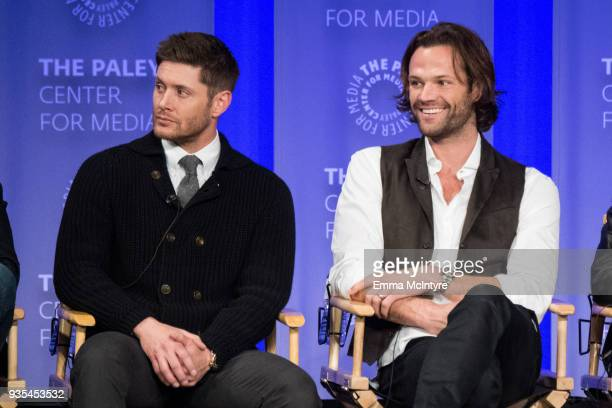 Actors Jensen Ackles and Jared Padalecki speak onstage at the Paley Center for Media's 35th Annual PaleyFest Los Angeles 'Supernatural' at Dolby...