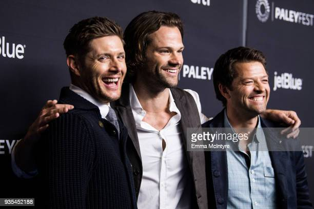 Actors Jensen Ackles Jared Padalecki and Misha Collins attend the Paley Center for Media's 35th Annual PaleyFest Los Angeles Supernatural at Dolby...