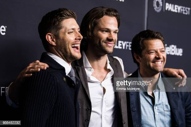 Actors Jensen Ackles Jared Padalecki and Misha Collins attend the Paley Center for Media's 35th Annual PaleyFest Los Angeles 'Supernatural' at Dolby...