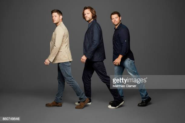 Actors Jensen Ackles Jared Padalecki and Misha Collins from Supernatural are photographed for Entertainment Weekly Magazine on July 21 2017 at Comic...
