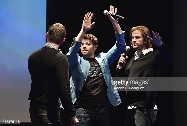 Actors Jensen Ackles Misha Collins And Jared Padalecki Attend The CWs Fan Party To Celebrate
