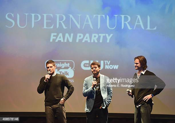 Actors Jensen Ackles Misha Collins and Jared Padalecki attend the CW's Fan Party to Celebrate the 200th episode of Supernatural on November 3 2014 in...