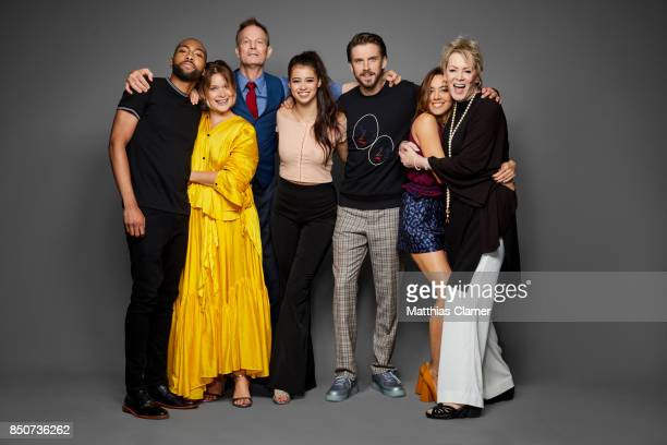 Actors Jeremie Harris Rachel Keller Bill Irwin Amber Midthunder Dan Stevens Aubrey Plaza and Jean Smart from Legion are photographed for...