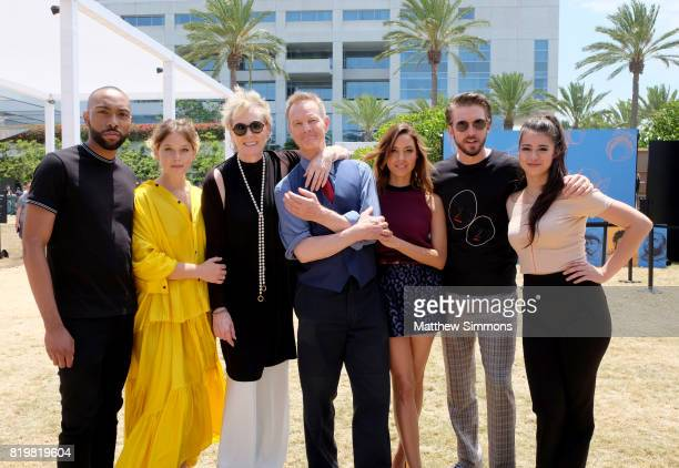 Actors Jeremie Harris Rachel Keller Jean Smart Bill Irwin Aubrey Plaza Dan Stevens and Amber Midthunder of 'Legion' attend FX Networks' FXHibition...