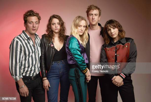 Actors Jeremy Allen White Olivia Luccardi Maika Monroe Writers Joey Power and Hannah Marks from the film 'Shotgun' pose for a portrait in the Getty...