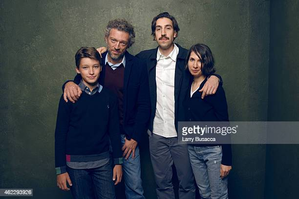 Actors Jeremy Chabriel Vincent Cassel director/writer Ariel Kleiman and writer/designer Sarah Cyngler of 'Partisan' pose for a portrait at the...