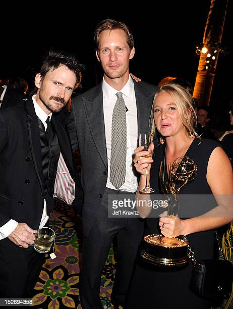 Actors Jeremy Davies Alexander Skarsgard and guest attend HBO's Official Emmy After Party at The Plaza at the Pacific Design Center on September 23...