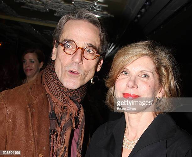 Actors Jeremy Irons and Christine Baranski attend the after party for opening night of the Broadway production of Mary Stuart at Tavern on the Green...