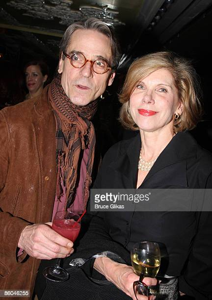 Actors Jeremy Irons and Christine Baranski attend the after party for the opening night of Mary Stuart on Broadway at Tavern on the Green April 19...
