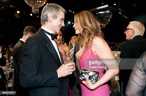 Actors Jeremy Irons and Julia Roberts attend the 20th Annual Screen Actors Guild Awards at The Shrine Auditorium on January 18, 2014 in Los Angeles,...