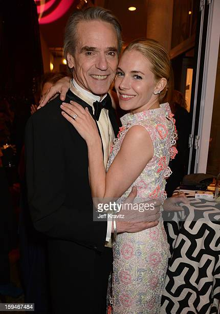 Actors Jeremy Irons and Sienna Miller attend HBO's Official Golden Globe Awards After Party held at Circa 55 Restaurant at The Beverly Hilton Hotel...