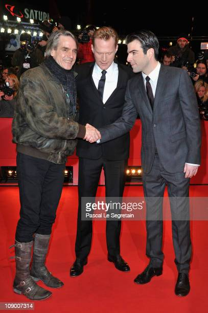 Actors Jeremy Irons Paul Bettany and Zachary Quinto attend the 'Margin Call' Premiere during day two of the 61st Berlin International Film Festival...