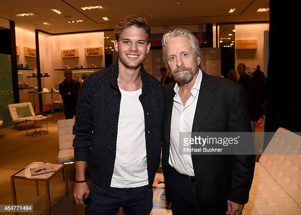 Actors Jeremy Irvine and Michael Douglas attend day 2 of the Variety Studio presented by Moroccanoil at Holt Renfrew during the 2014 Toronto...