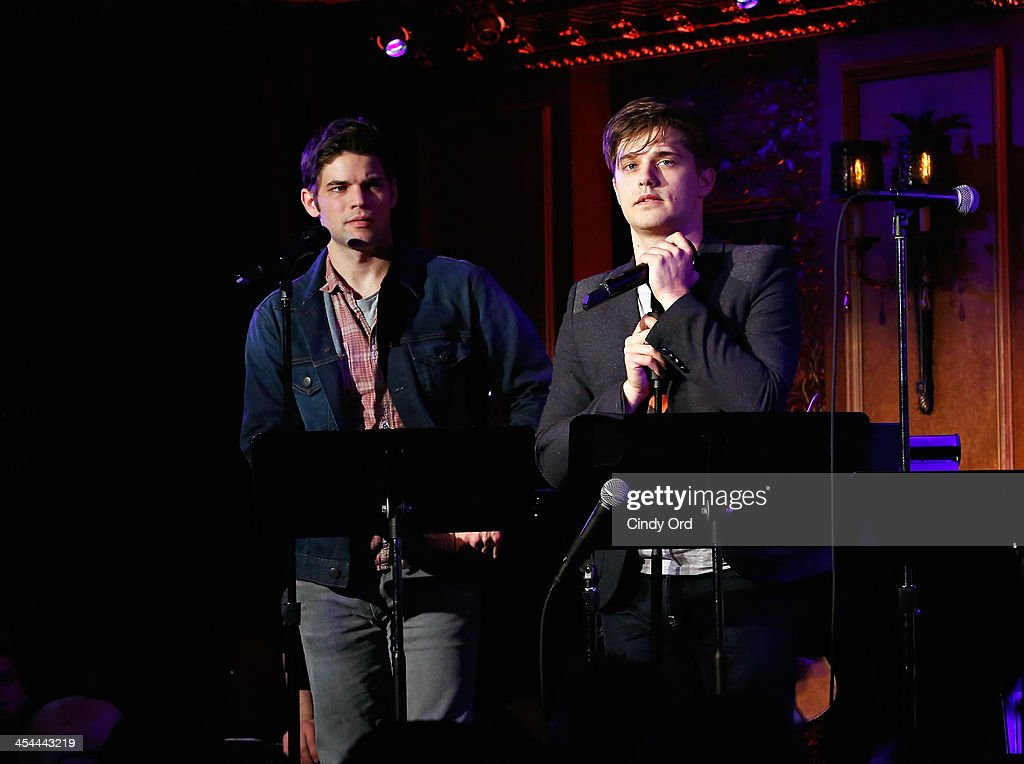 actors jeremy jordan and andy mientus perform in hit list at 54 below picture id454443219