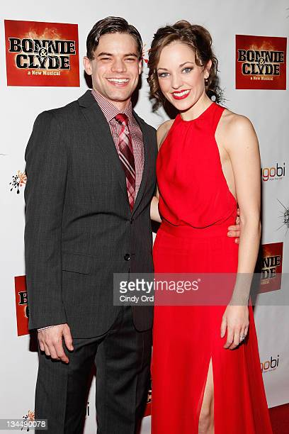 "Actors Jeremy Jordan and Laura Osnes attends the after party for the Broadway opening night of ""Bonnie & Clyde"" at The Edison Ballroom on December 1,..."