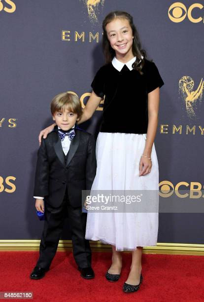 Actors Jeremy Maguire and Aubrey AndersonEmmons attend the 69th Annual Primetime Emmy Awards at Microsoft Theater on September 17 2017 in Los Angeles...