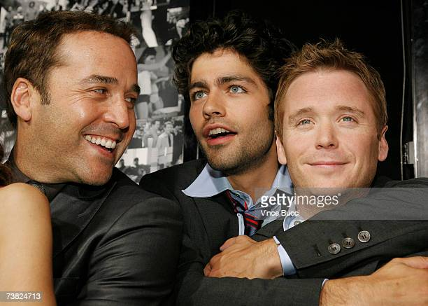 Actors Jeremy Piven Adrian Grenier and Kevin Connolly attend the premiere of the HBO series Entourage Season 3 at The Cinerama Dome on April 5 2007...
