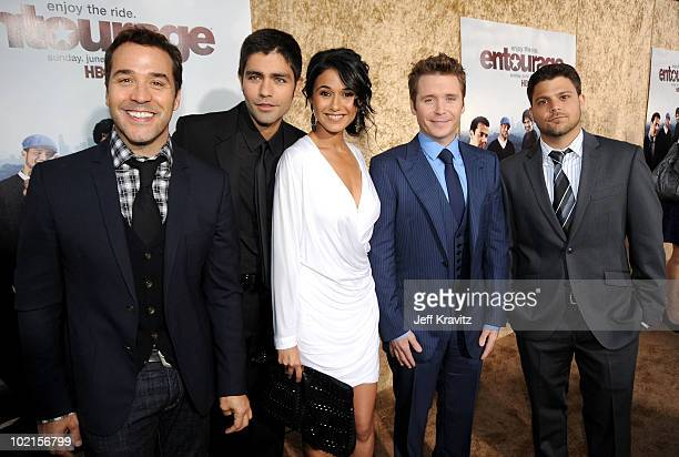 Actors Jeremy Piven Adrian Grenier Emmanuelle Chriqui Kevin Connolly and Jerry Ferrara arrive at HBO's Entourage Season 7 premiere held at Paramount...