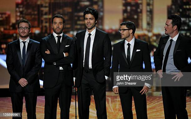 Actors Jeremy Piven, Adrian Grenier, Kevin Connolly, Jerry Ferrara and Kevin Dillon speak onstage during the 63rd Primetime Emmy Awards at the Nokia...