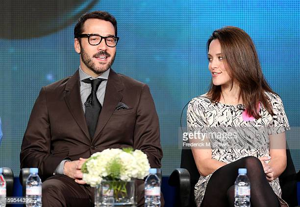 Actors Jeremy Piven and Zoe Tapper of the television show 'Mr Selfridge' speaks onstage during the PBS Portion Day 2 of the 2013 Winter Television...