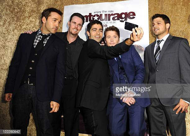Actors Jeremy Piven Kevin Dillon Adrian Grenier Kevin Connolly and Jerry Ferrara arrive at HBO's Entourage Season 7 premiere held at Paramount...