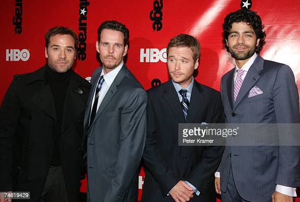 Actors Jeremy Piven Kevin Dillon Kevin Connolly and Adrian Grenier attend The Fourth Season Premiere of Entourage presented by HBO at the Ziegfeld...