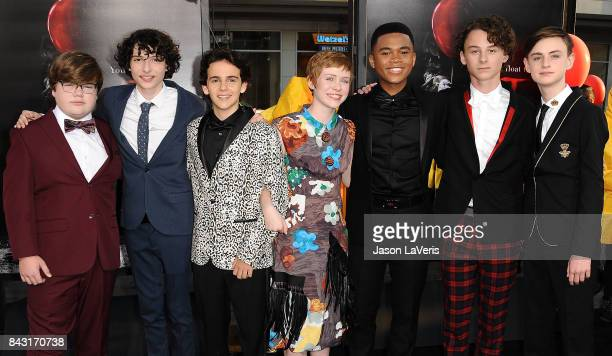 Actors Jeremy Ray Taylor Finn Wolfhard Jack Dylan Grazer Sophia Lillis Chosen Jacobs Wyatt Oleff and Jaeden Lieberher attends the premiere of It at...