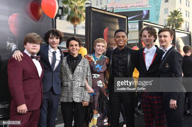 Actors Jeremy Ray Taylor Finn Wolfhard Jack Dylan Grazer Sophia Lillis Chosen Jacobs Wyatt Oleff and Jaeden Lieberher arrive at the premiere of 'It'...